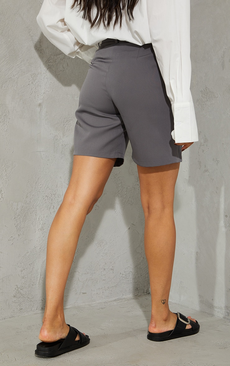 Charcoal Grey Woven Tailored Longline City Shorts 3