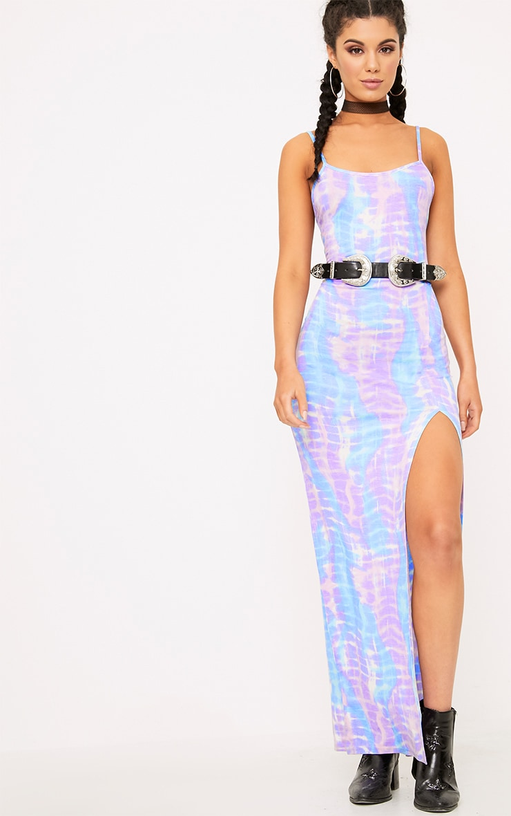 Lilac Tie Dye Strappy Thigh Split Maxi Dress  1