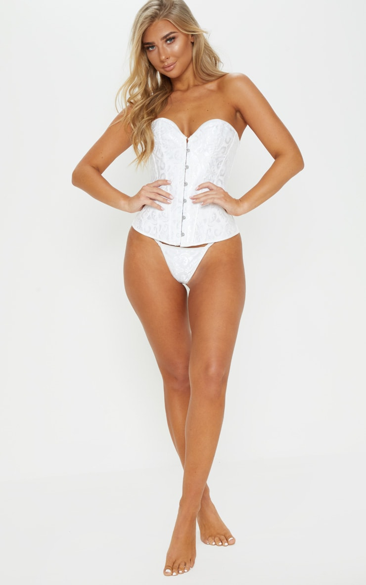 White Hook Front Ribbon Corset 4