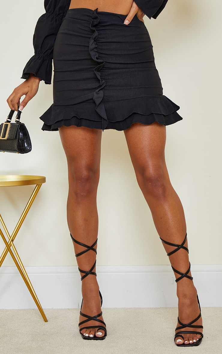 Black Woven Stretch Frill Ruched Front Mini Skirt 2