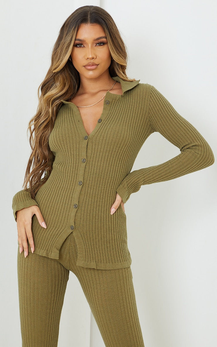 Oatmeal Ribbed Knitted Long Sleeve Cardigan image 1