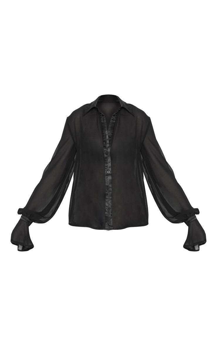 Chemise en mousseline de soie noire à détail manches resserrées  3