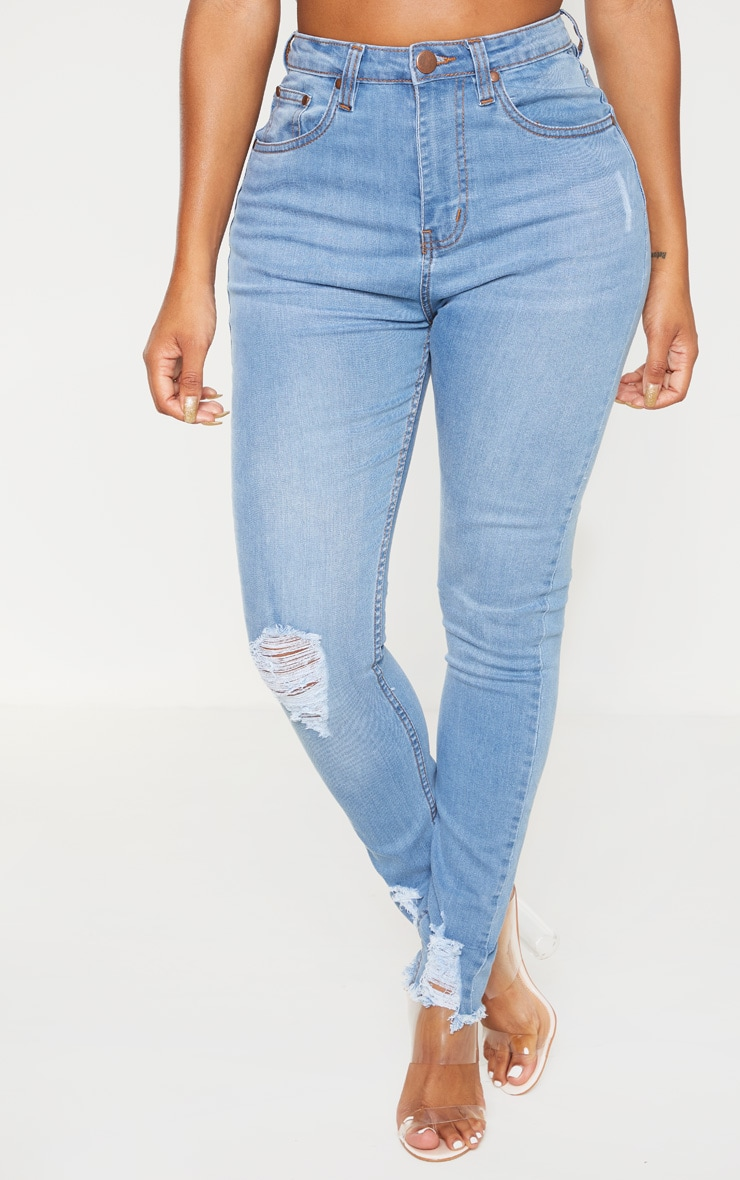 Shape Light Wash High Waisted Distressed Cuff Jeans 2