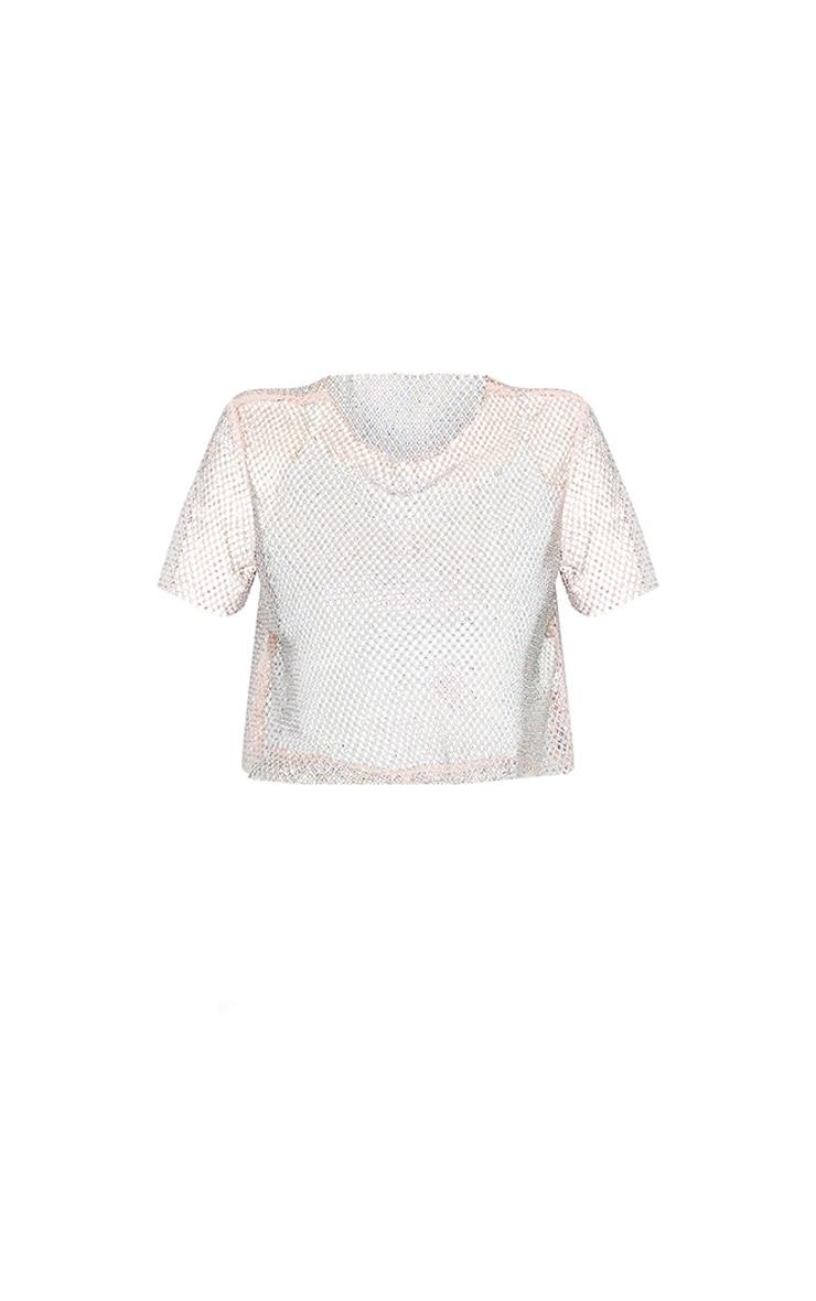 Baby Pink Diamante Fishnet T-Shirt 5
