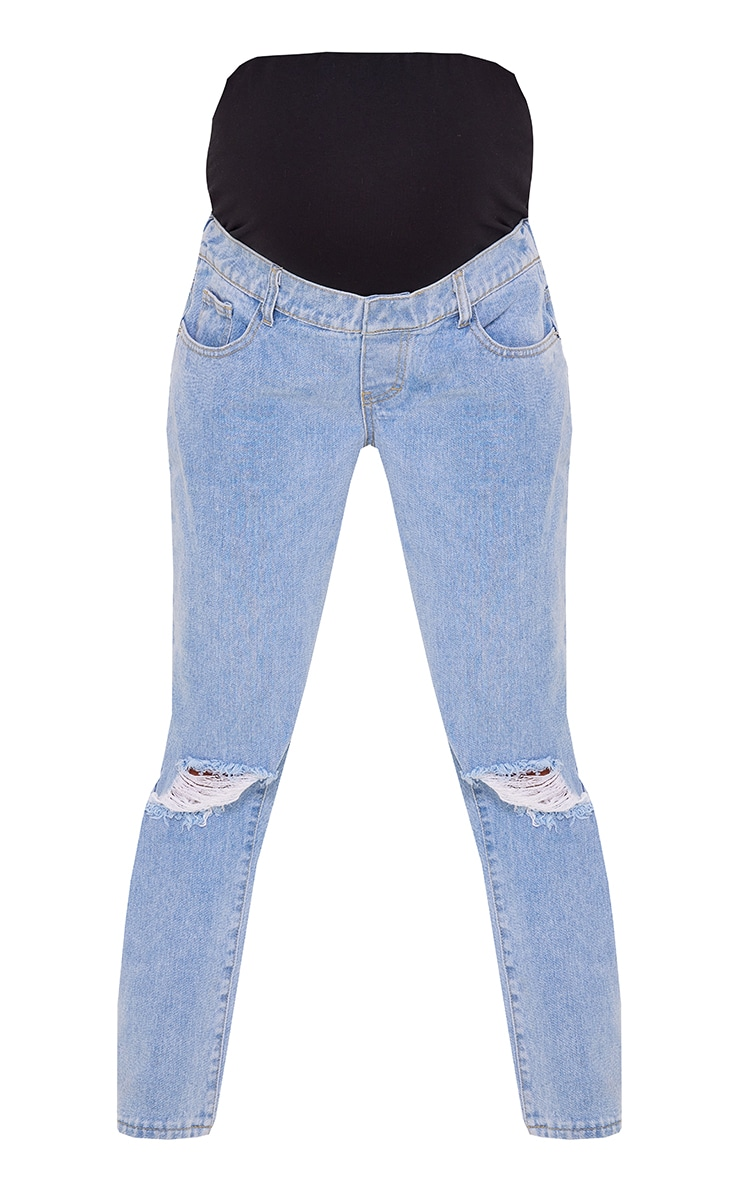 Maternity Light Blue Ripped Knee Mom Jeans 5