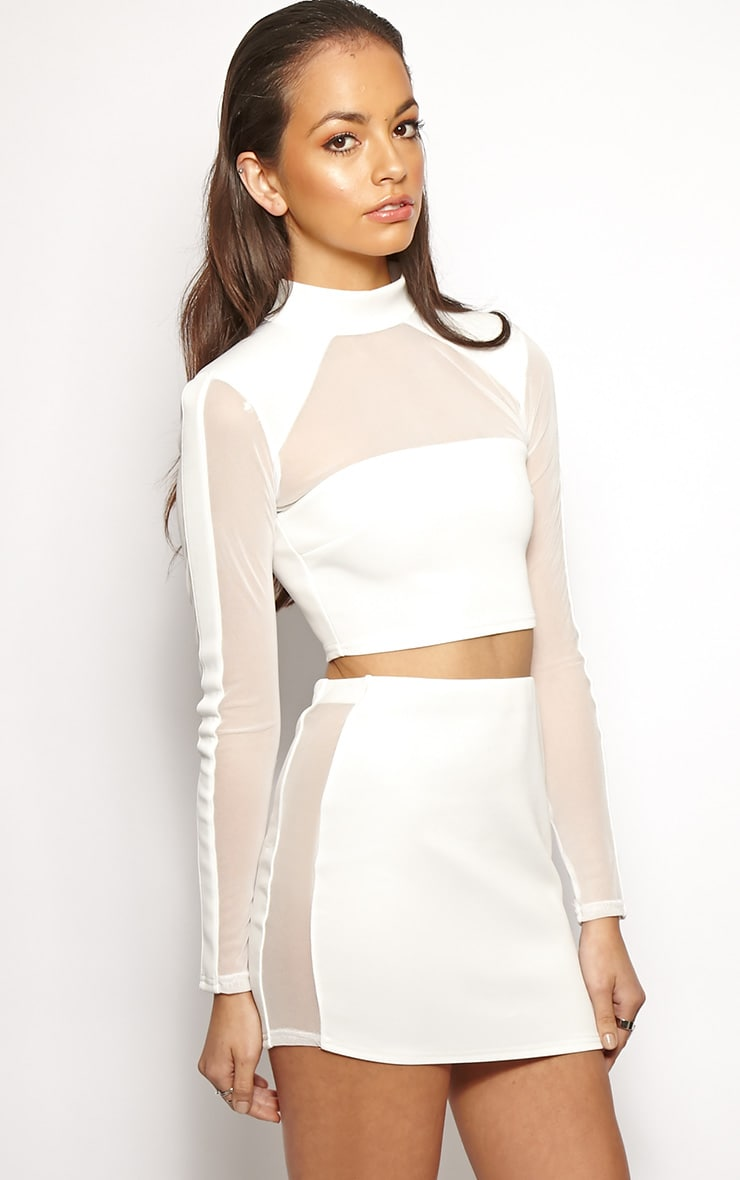 Yoshiko White Structured Crop Top 1