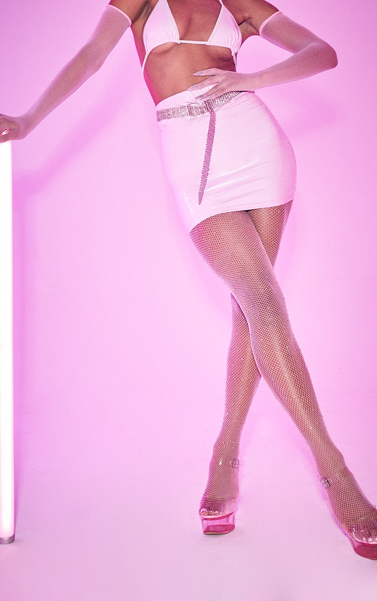 Baby Pink Vinyl Mini Skirt 2