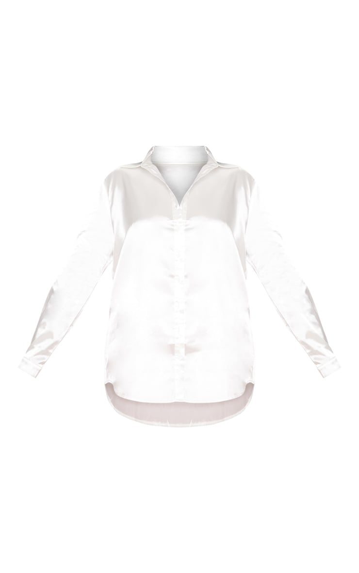 Plus White Satin Button Front Shirt 3