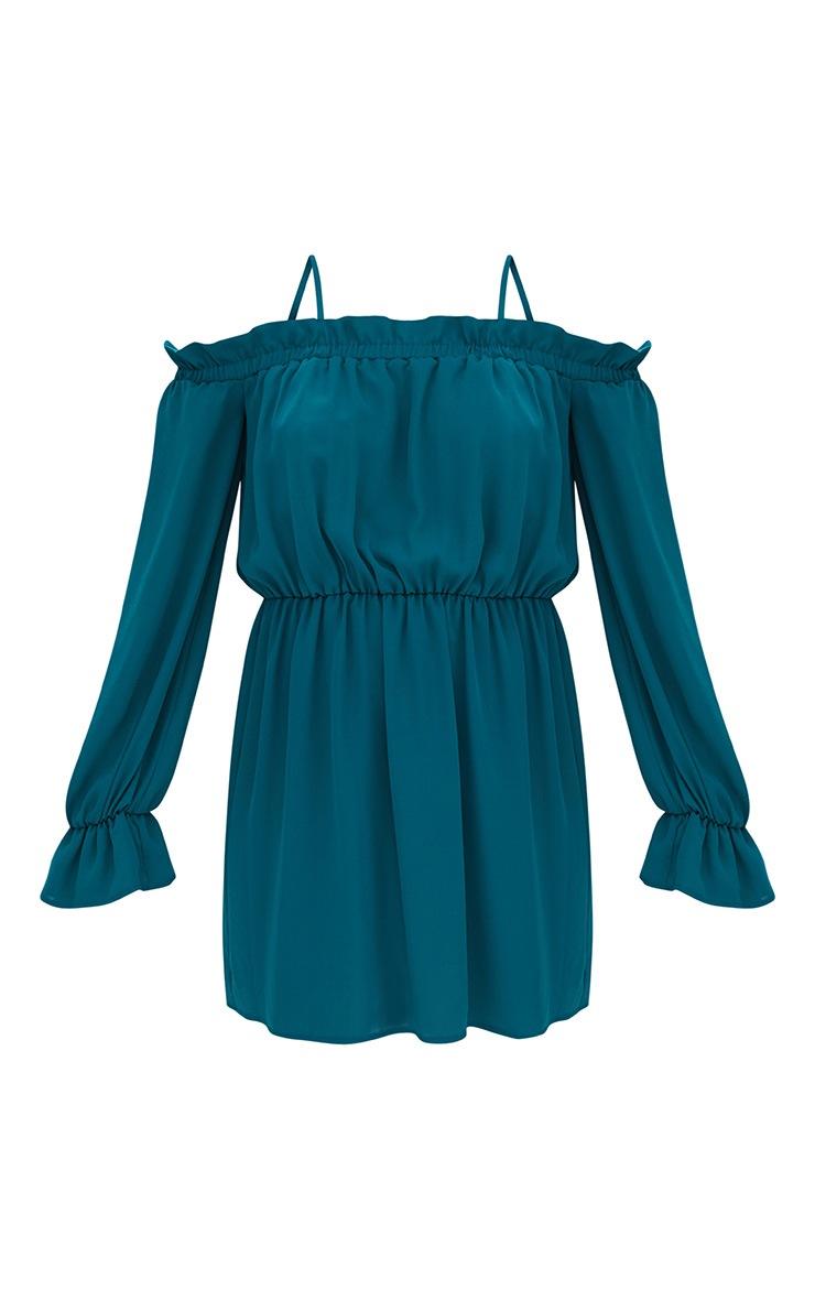 Teal Cold Shoulder Frill Shift Dress 3