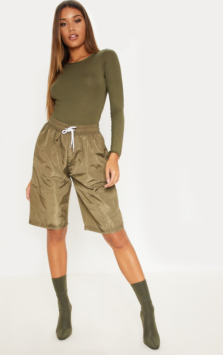 Basic Khaki Crew Neck Long Sleeve Bodysuit 1