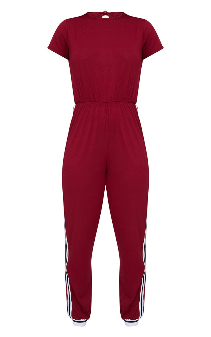 Burgundy Jersey Sports Stripe Jumpsuit 3