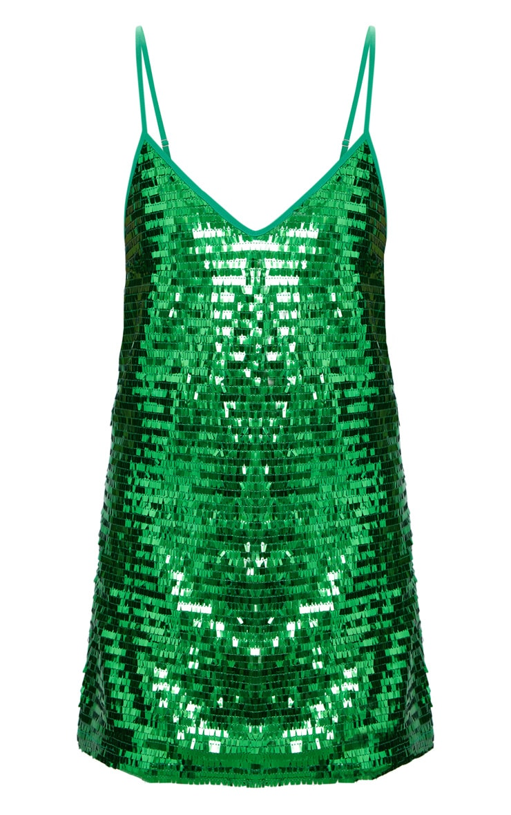 Bright Green Strappy Sequin Shift Dress 3