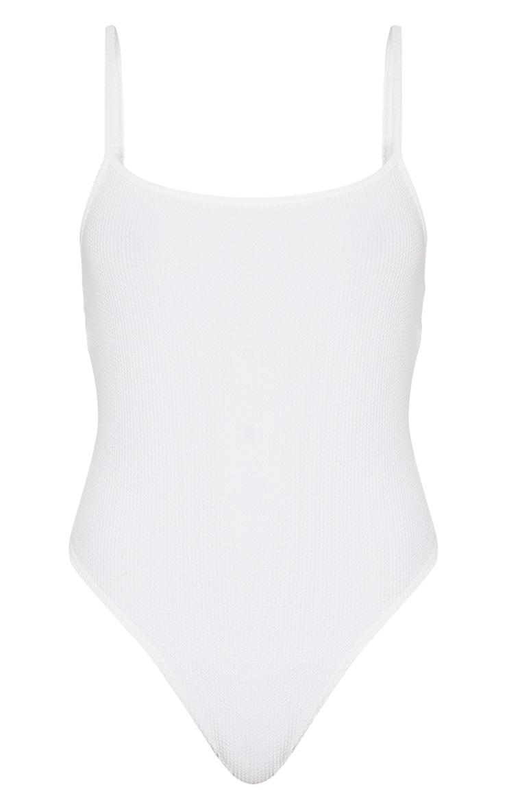 White Crinkle Rib Strappy Bodysuit 5