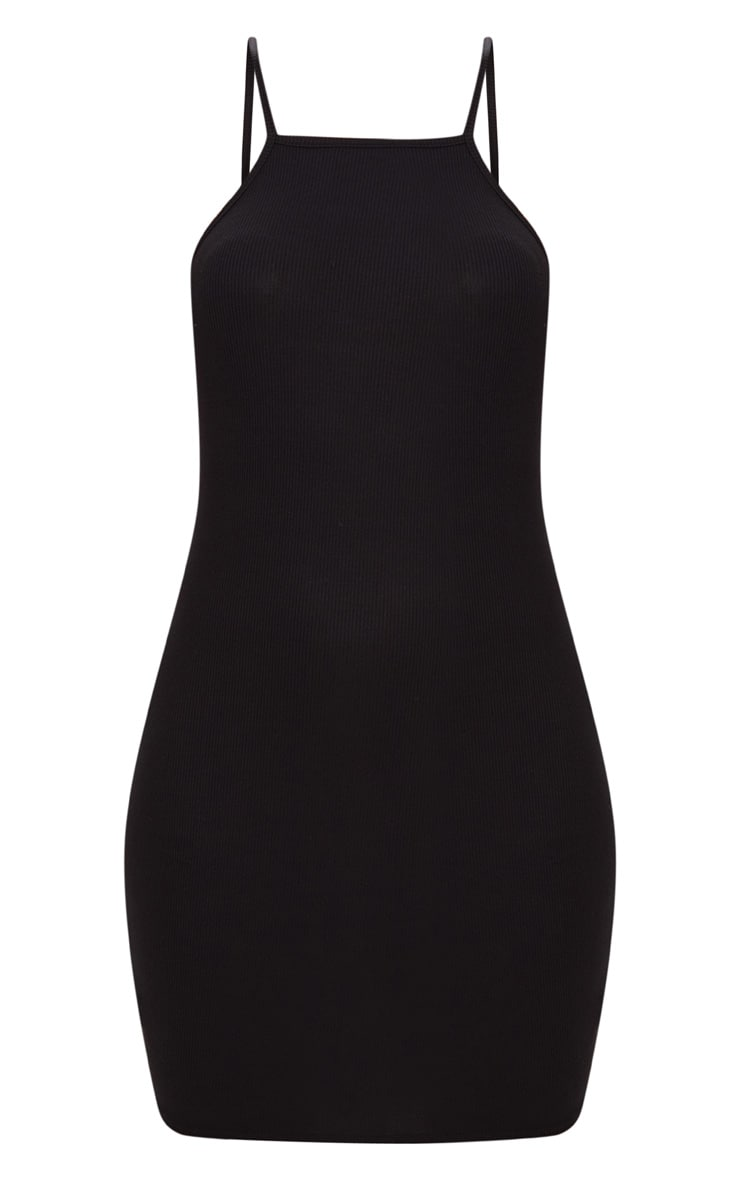 Basic Black Ribbed 90's Neck Bodycon Dress 3