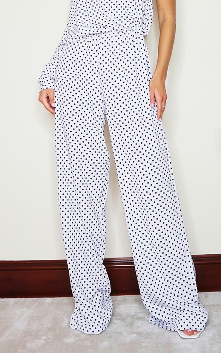 White Polka Dot One Sleeve Wide Leg Jumpsuit 4