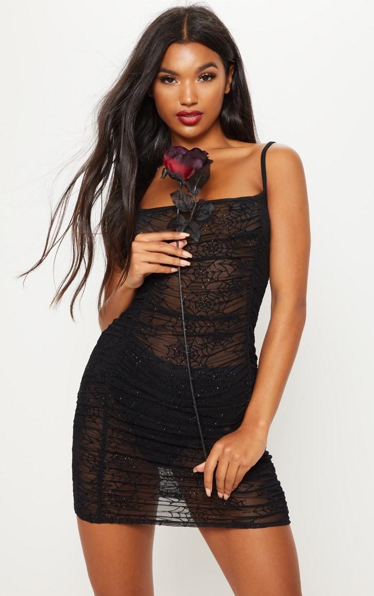 Black Cobweb Flocked Mesh Bodycon Dress 1
