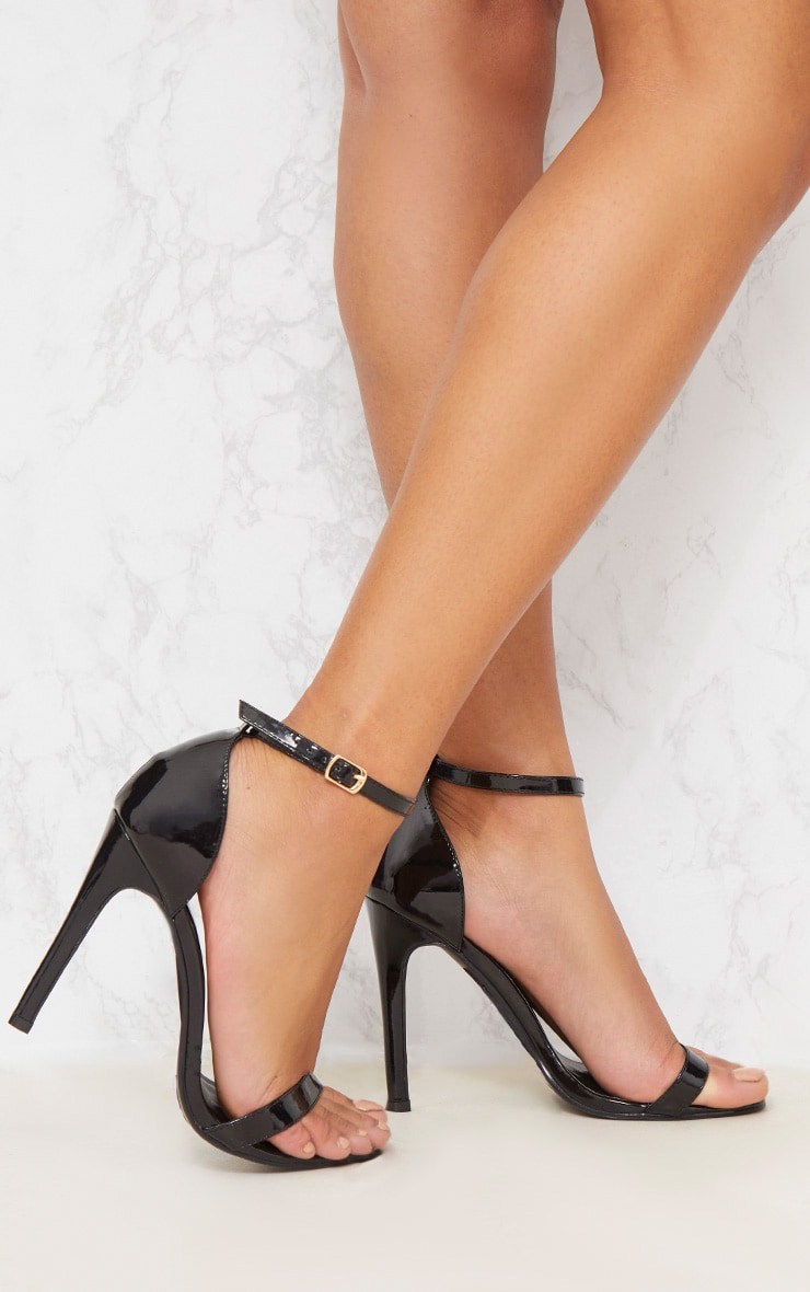 Black Patent Heeled Strappy Sandal