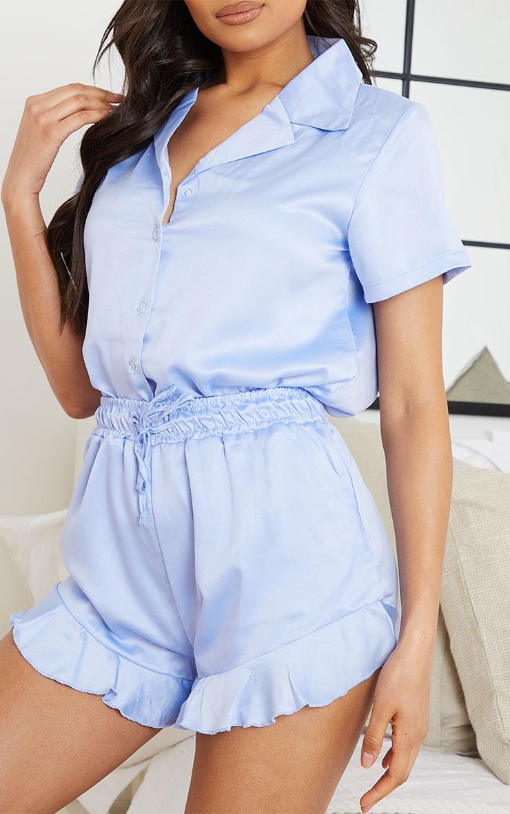 Baby Blue Satin Shirt And Ruffle Short PJ Set 4