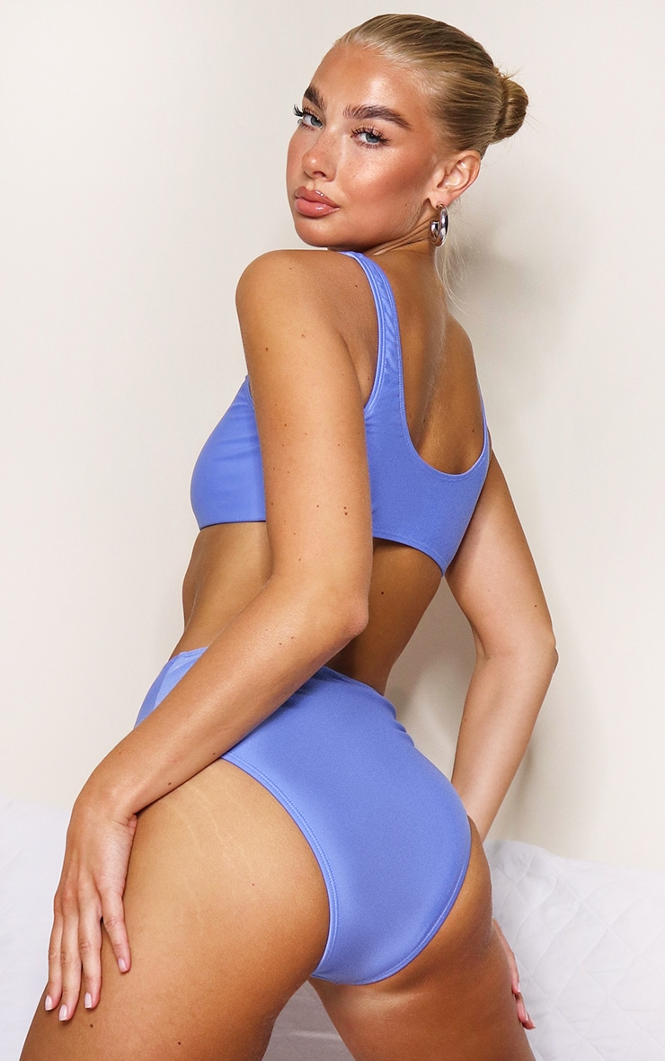 Cornflower Blue Mix & Match Square Scoop Neck Bikini Top 2