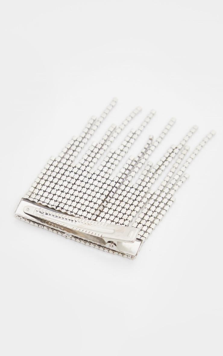 Silver Diamante Tassel Hair Clip 3