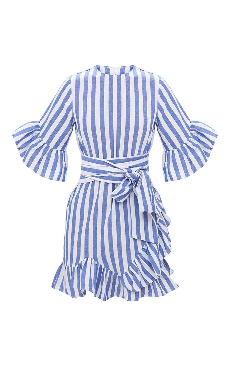 Blue Stripe Frill Detail Mini Dress 3