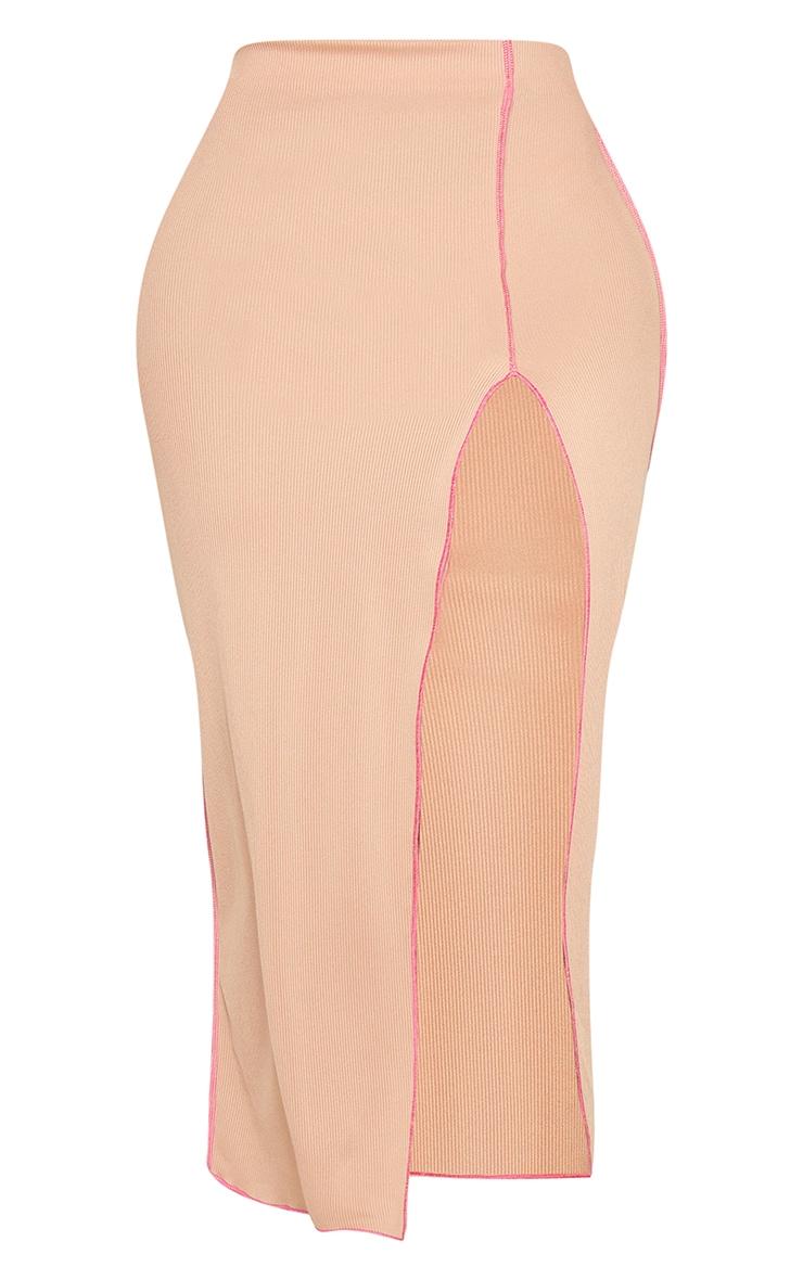 Shape Stone Rib Contrast Stitch Split Front Midi Skirt 6
