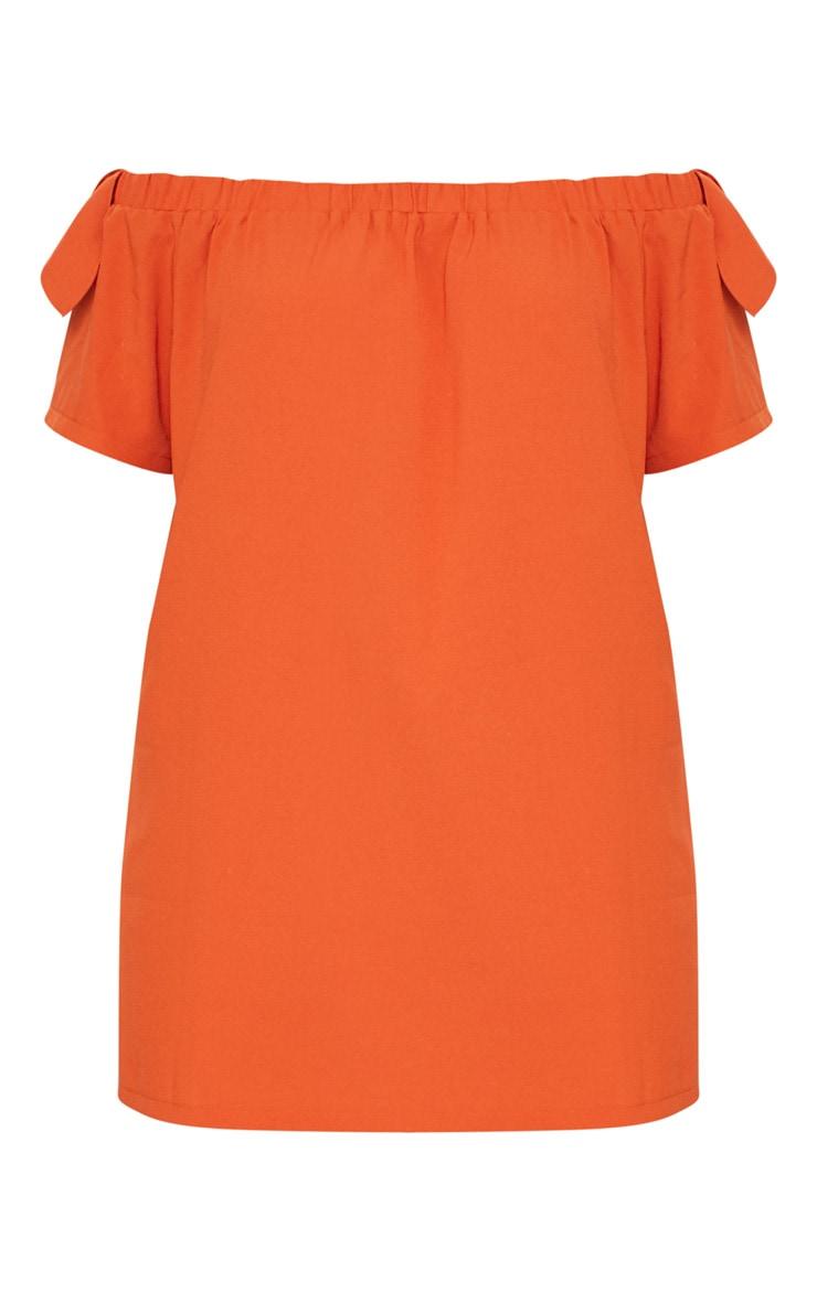 Plus Orange Crepe Bardot Swing Dress 3