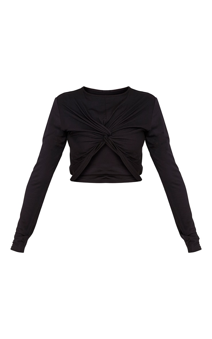 Robyn Black Knot Front Longsleeve Crop Top 3