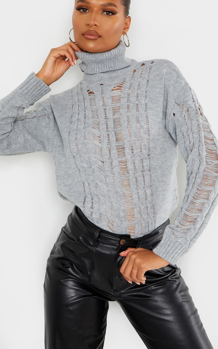 Grey Distressed Roll Neck Knitted Jumper 4