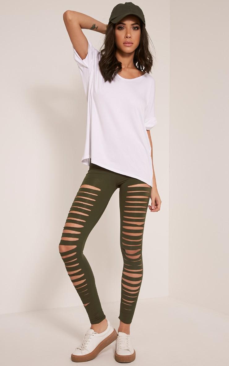 Sherry Khaki Ripped Leggings 1