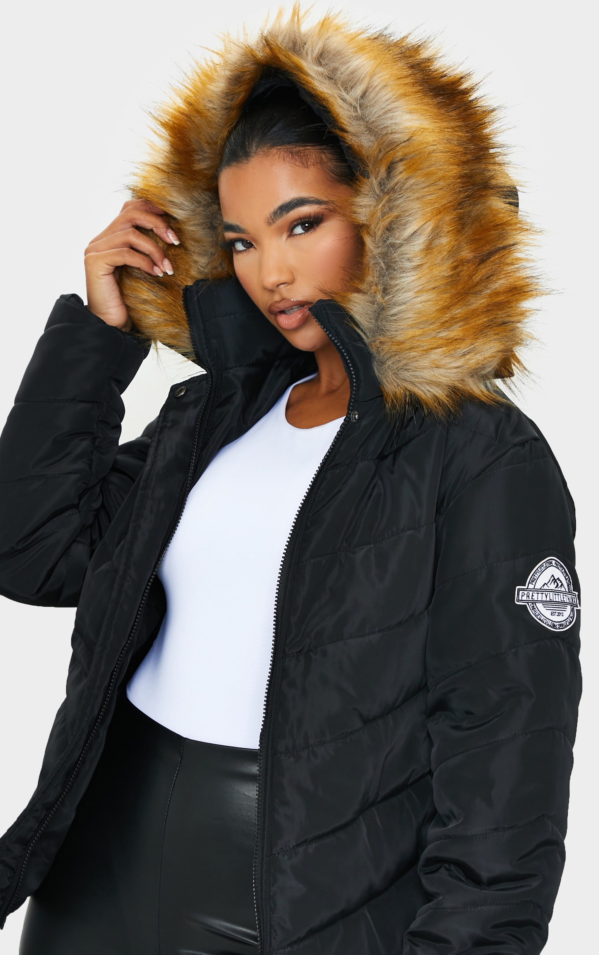 PRETTYLITTLETHING Black Belted Faux Fur Hooded Quilted Parka Coat 4