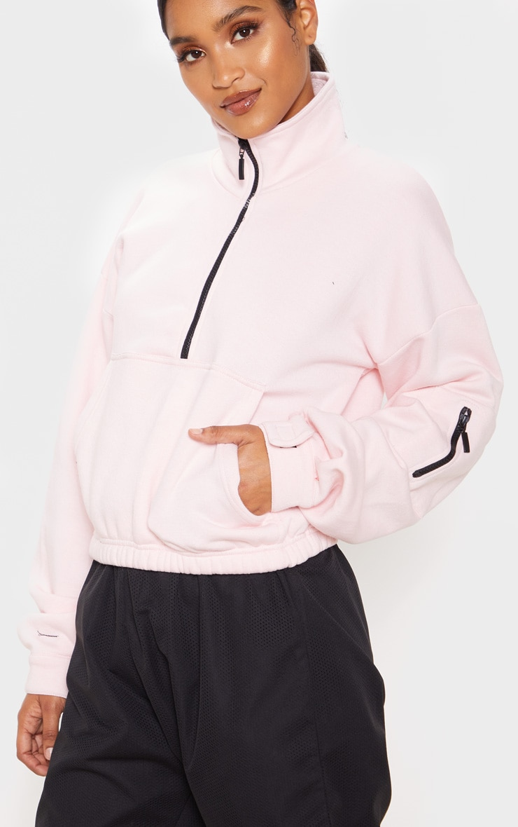 Baby Pink Oversized Zip Front Sweater  5