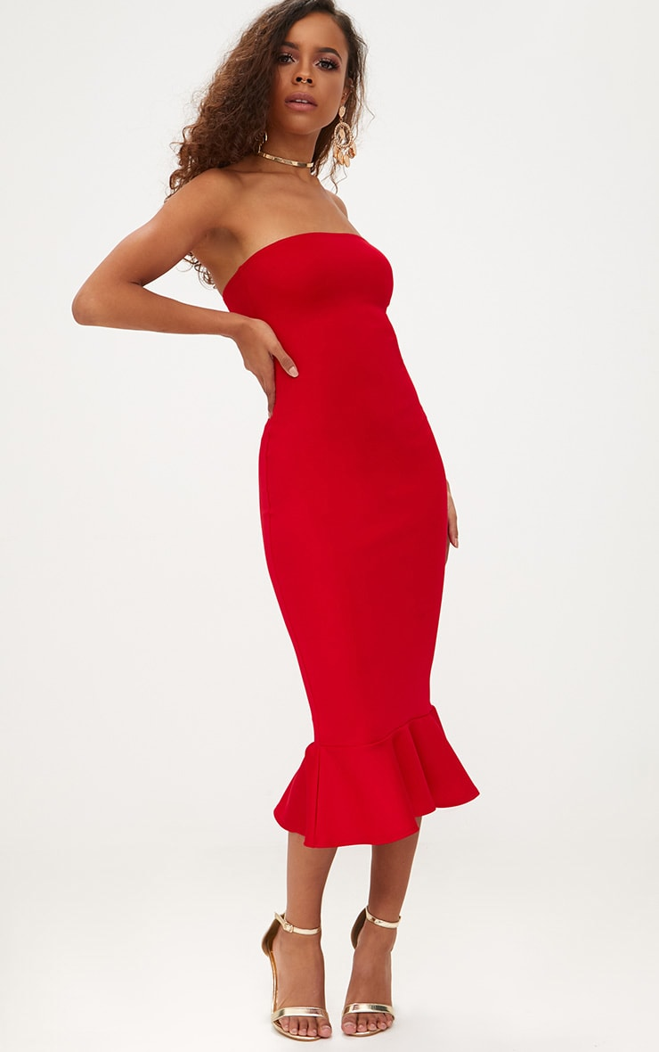 Petite Red Frill Midaxi Dress 1