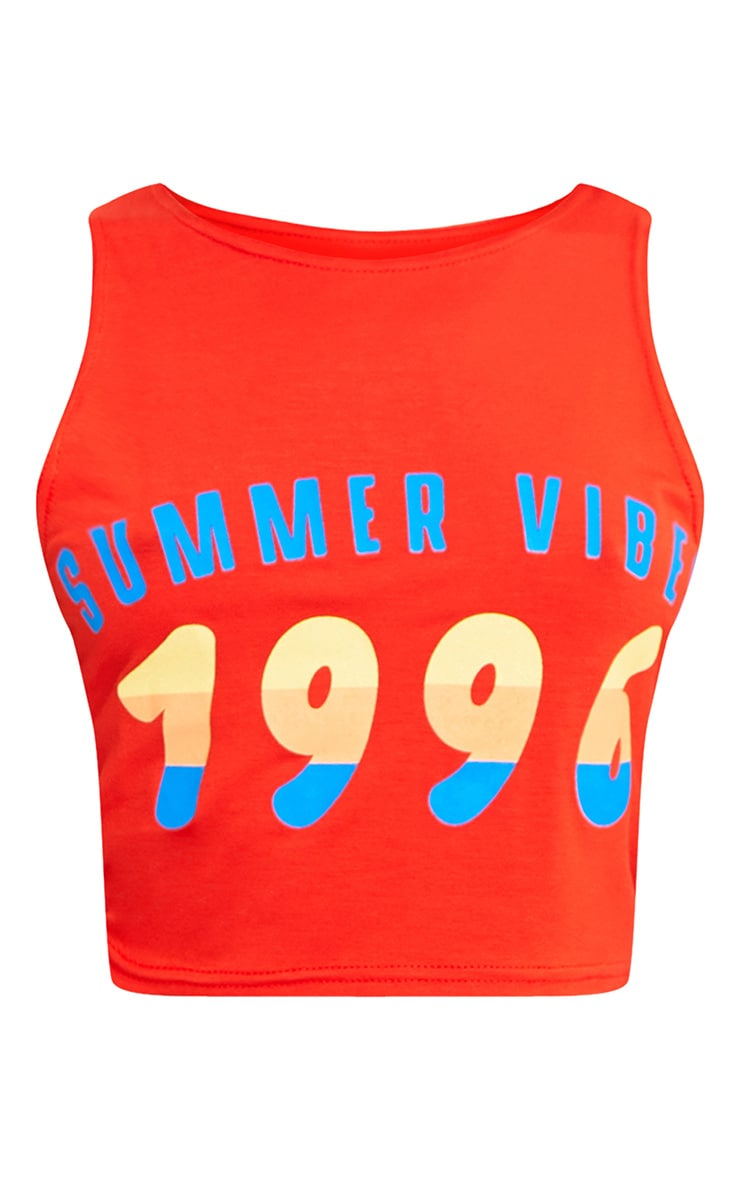 Summer Vibes Slogan Orange Sleeveless Crop Top 3