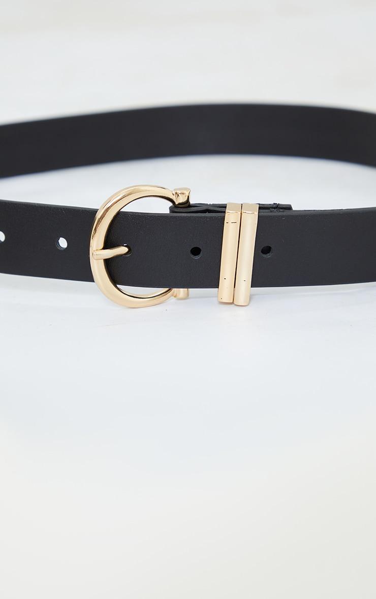 Black PU Gold Horseshoe Buckle Belt 3
