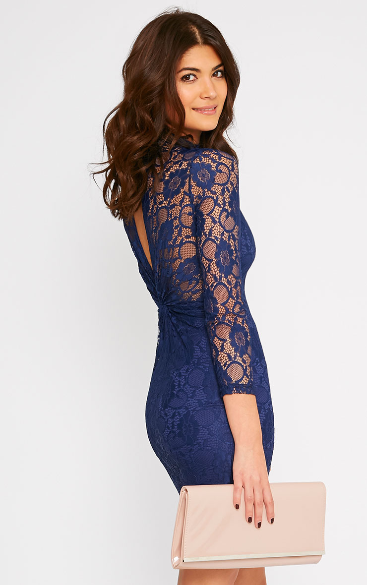 Esty Navy Lace High Neck Mini Dress  4
