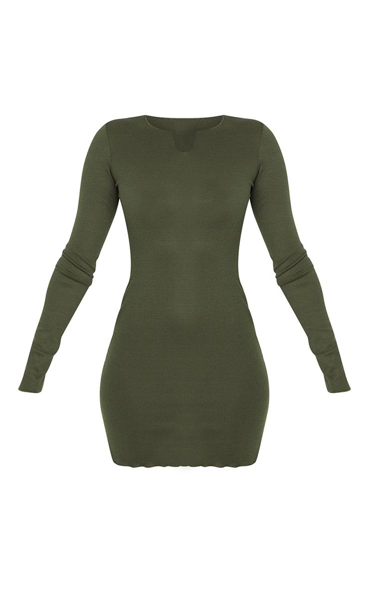 Khaki Split Detail Thumb Hole Raw Edge Bodycon Dress 5