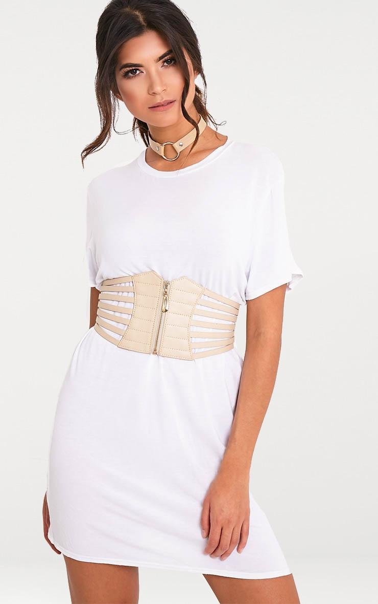 Kimie ceinture-corset couleur chair à fermeture Éclair 1