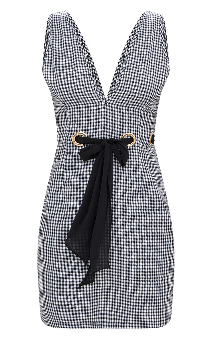 Black Gingham Eyelet Detail Bodycon Dress 3