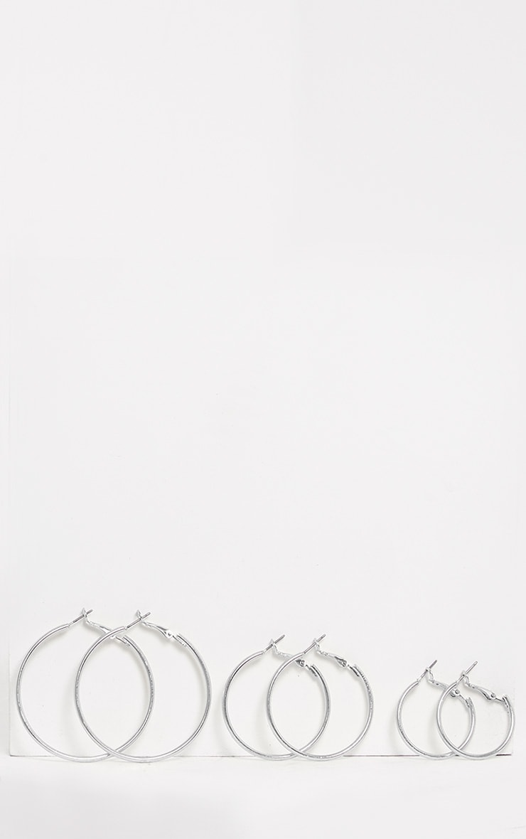 Three Pack Silver Assorted Size Hoop Earrings 6