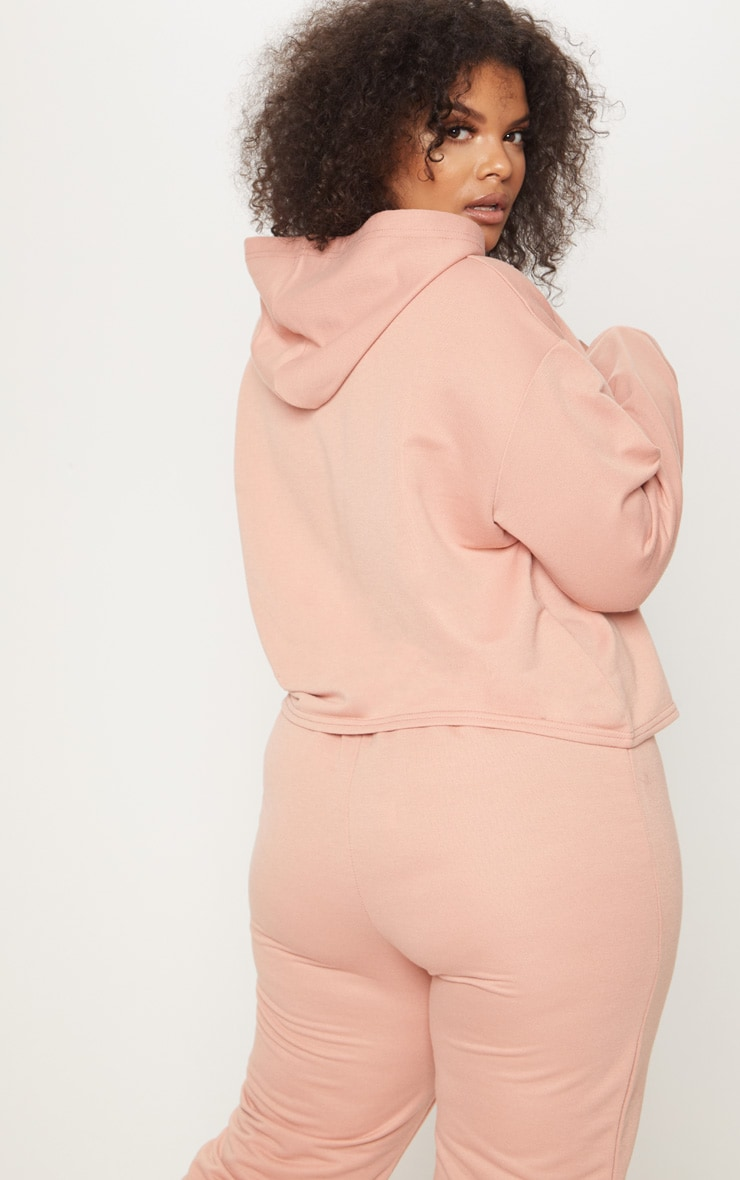 Plus Dusty Coral Oversized Cropped Hoodie 2