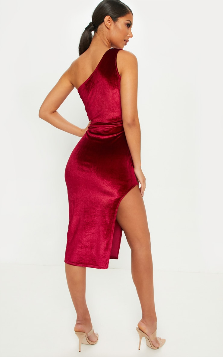 Burgundy One Shoulder Velvet Midi Dress 2