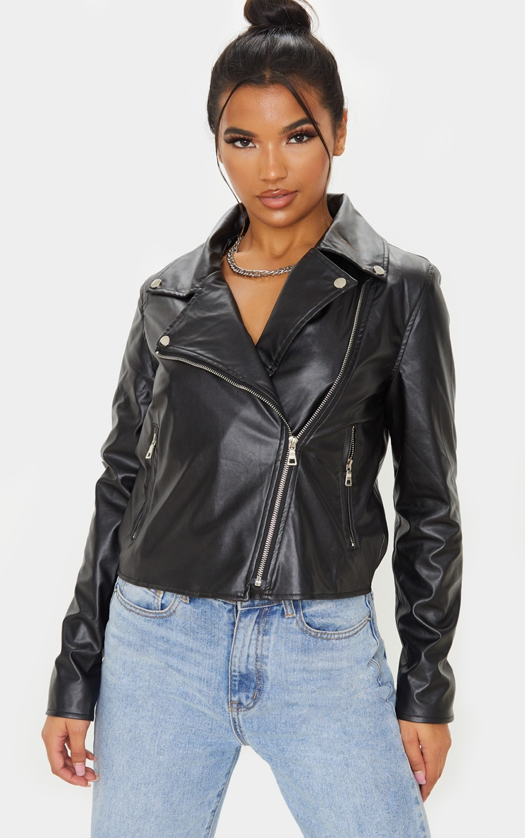 Black PU Zipped Biker Jacket  4