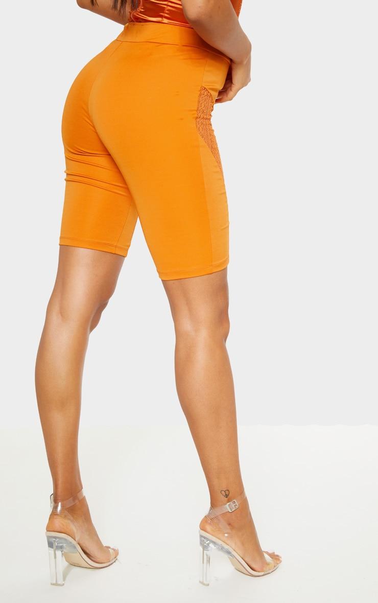 Burnt Orange Lace Panel Cycling Short 4