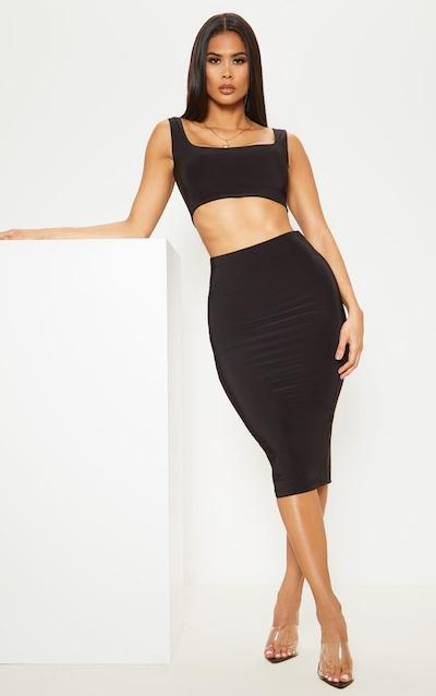 Black Second Skin Slinky Midi Skirt