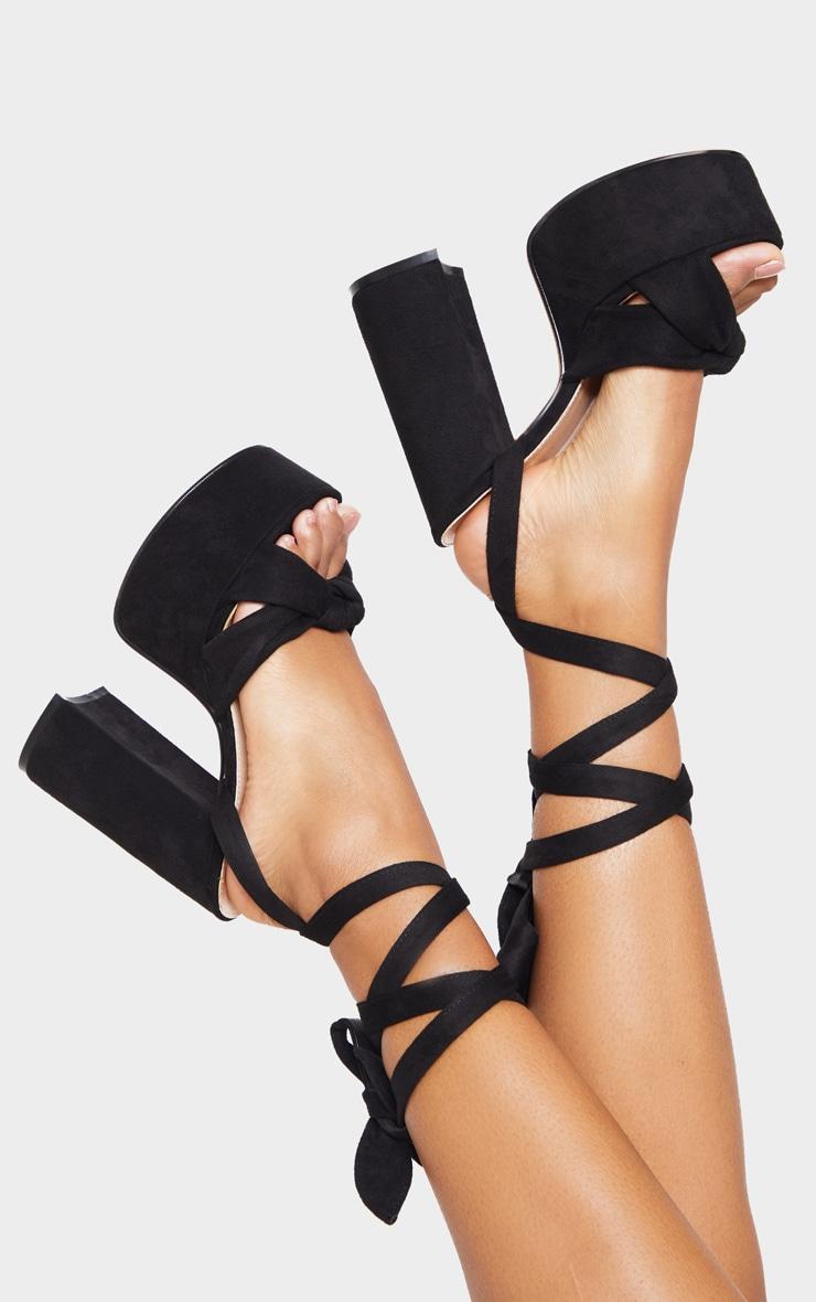Black Knot Tie Ankle Strappy Platform Sandal 2