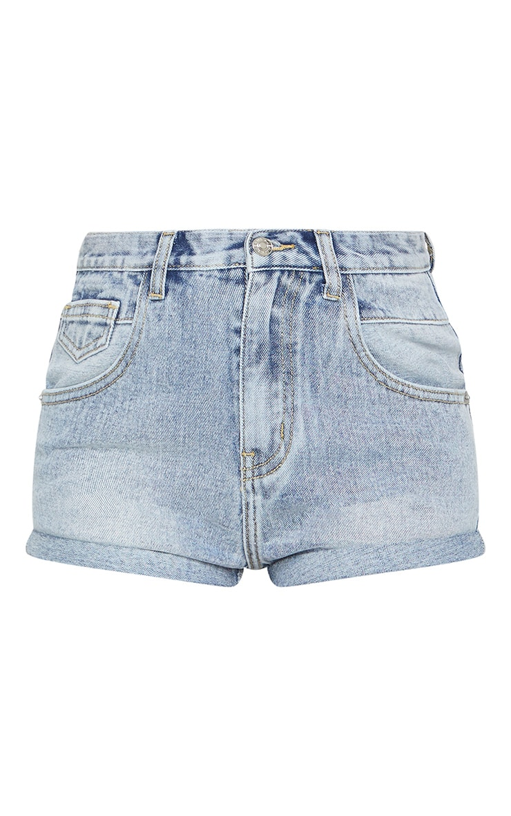 Petite Light Blue Wash Turn Up Mom Denim Short 6