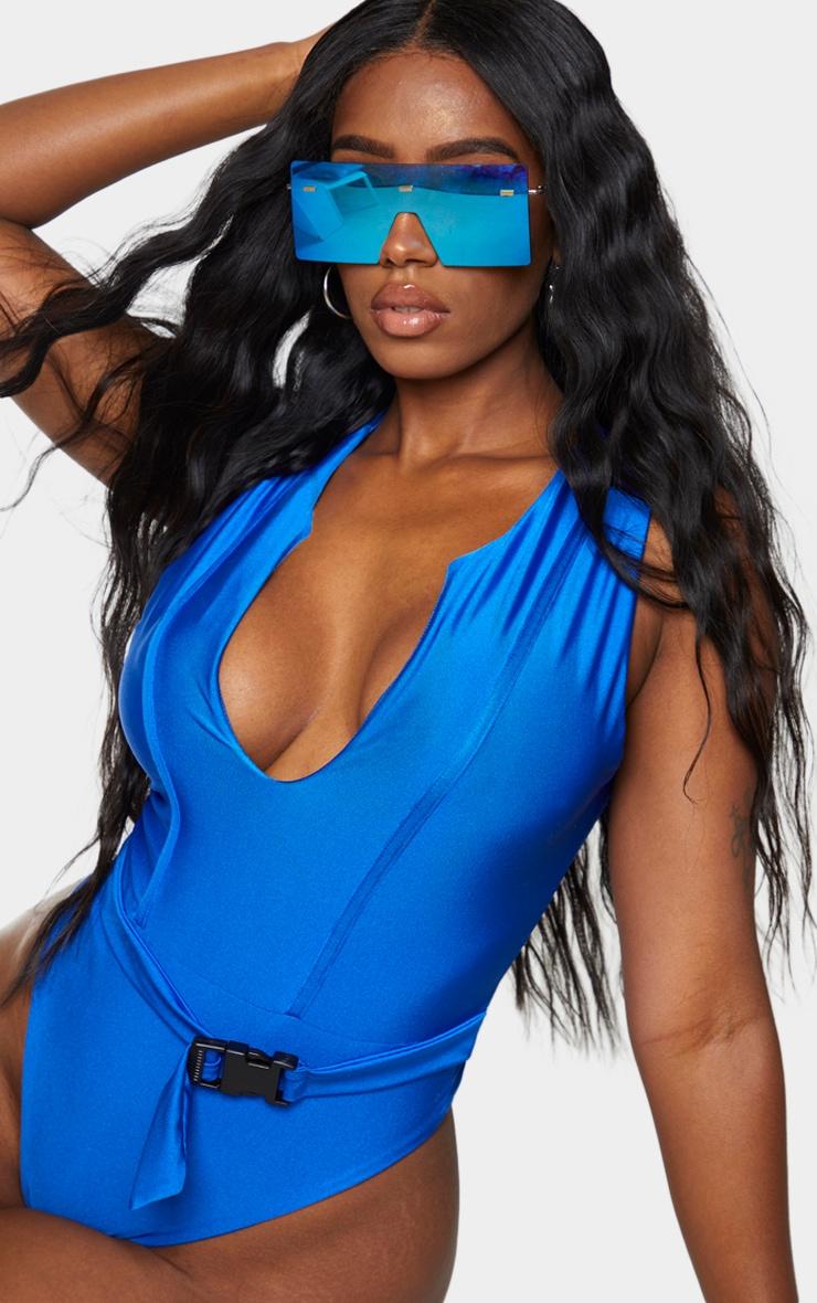 Shape Cobalt V Neck Buckle Waist Swimsuit 4