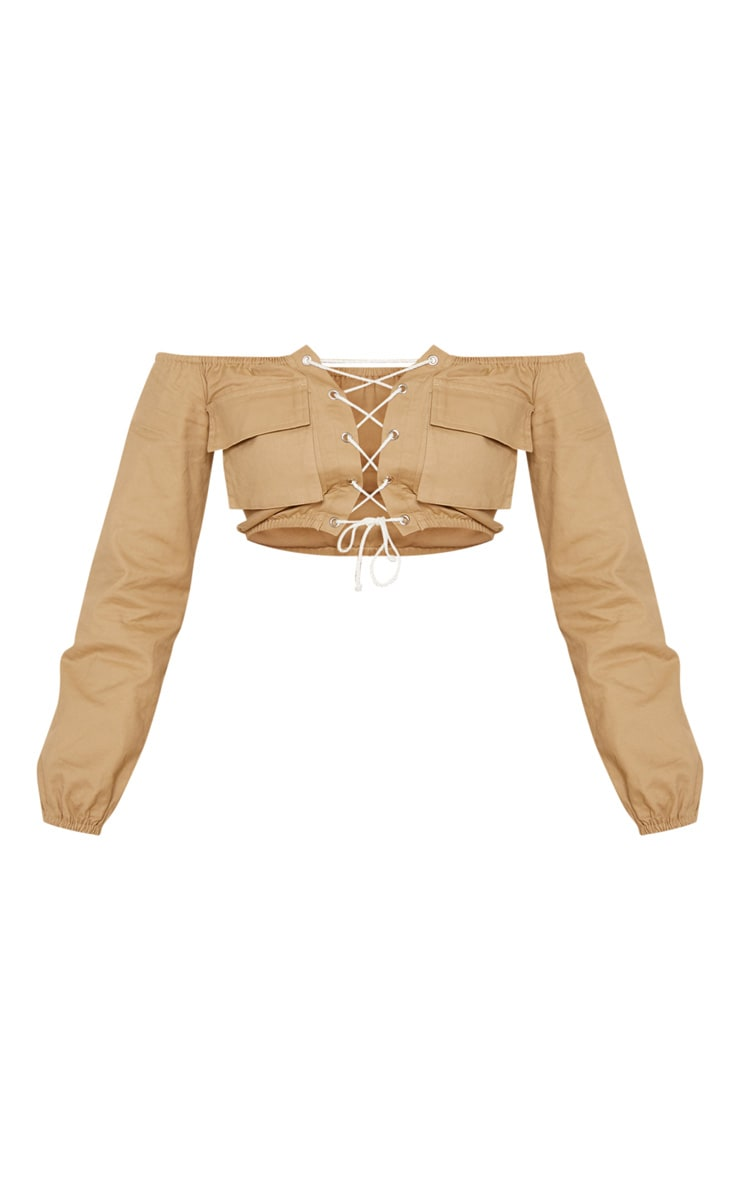 Stone Cargo Lace Up Crop Top 4