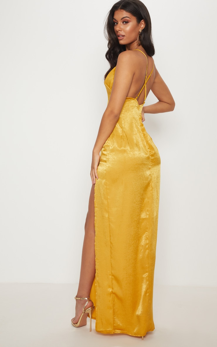 Gold Satin Slip Maxi Dress 2